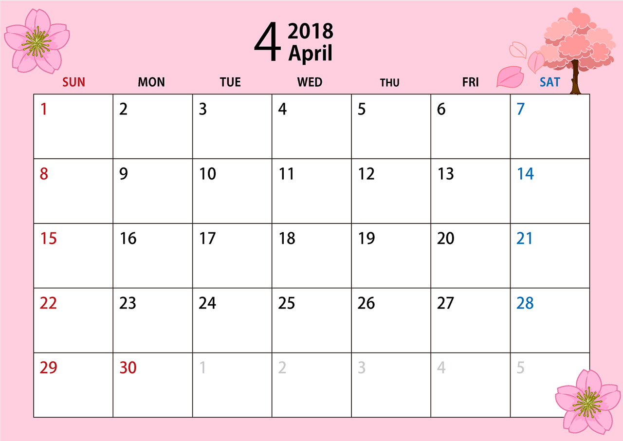 2018年4月のカレンダー