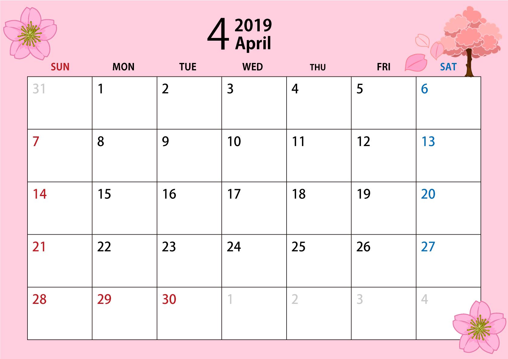 2019年4月のカレンダー