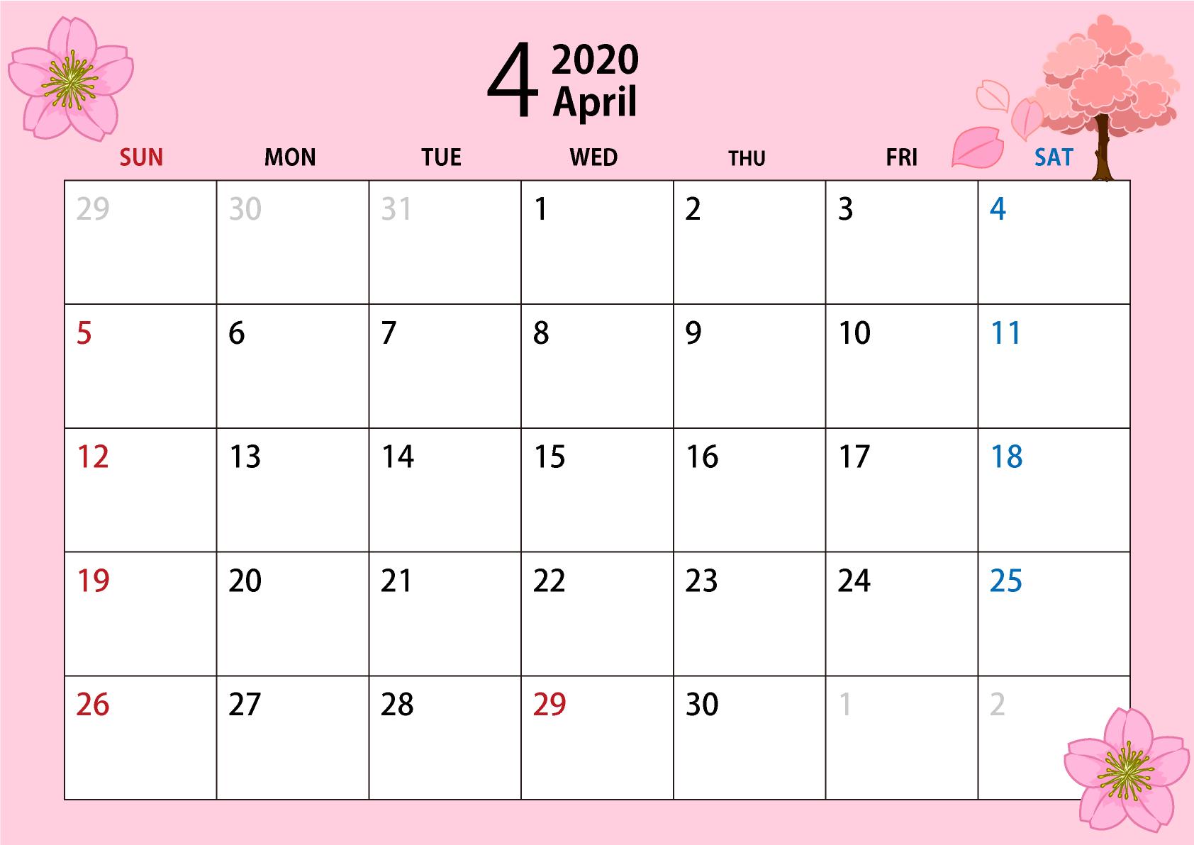 2020年4月のカレンダー