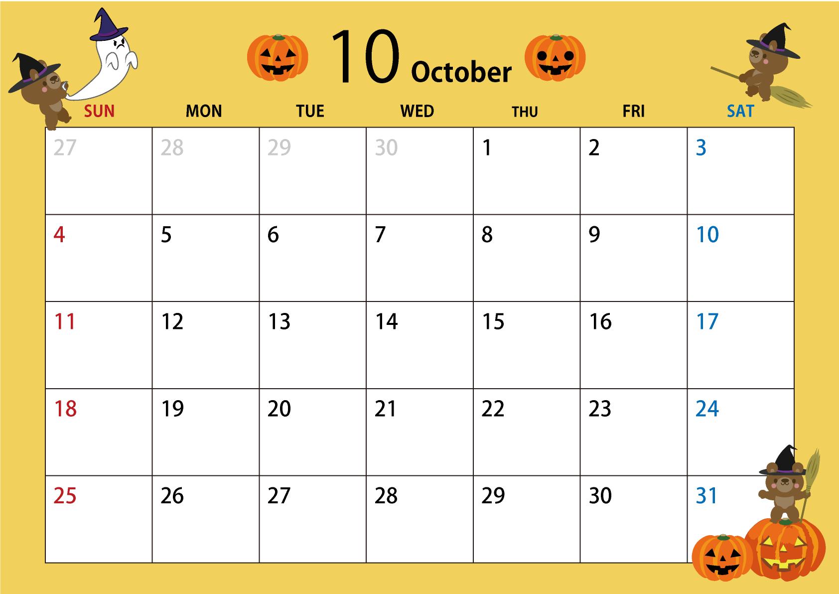 月 カレンダー 10